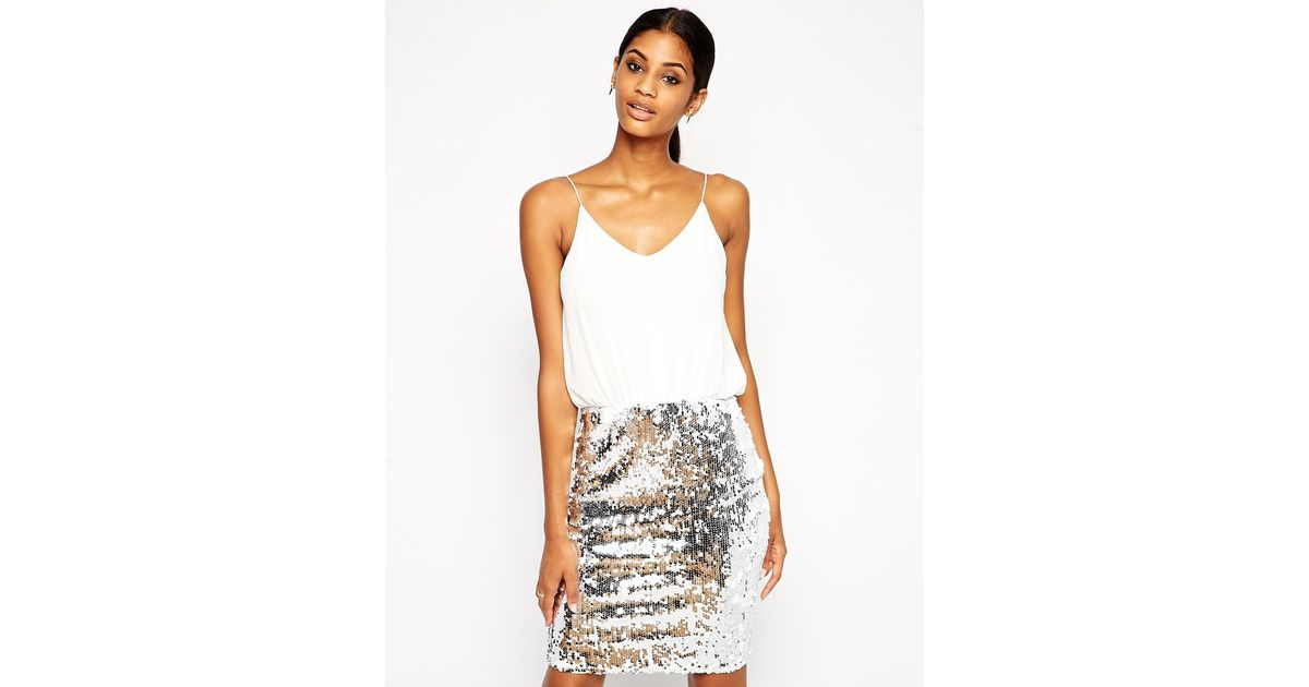 ae156f7462 TFNC London Cami Bodycon Dress With Sequin Skirt in Metallic - Lyst