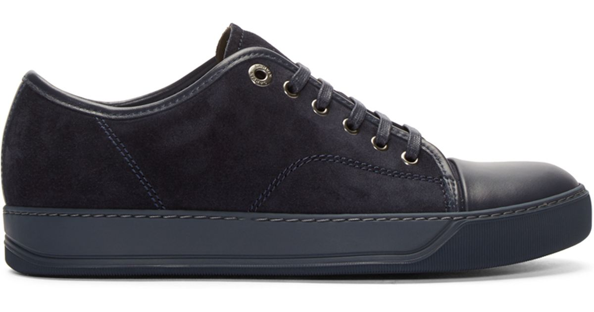 salg usa online detaljerede billeder komme online Lanvin Blue Navy Suede & Leather Tennis Sneakers