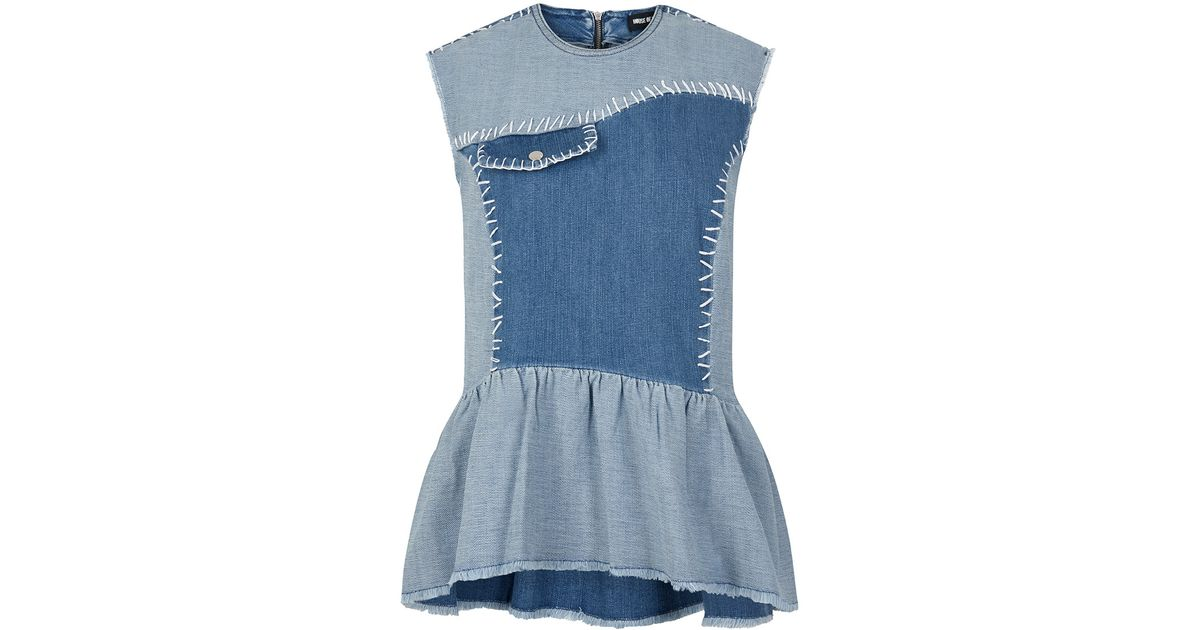 House Of Holland Denim Top In Blue Lyst
