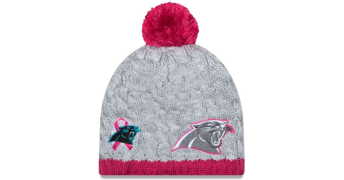 differently c487c 2863d KTZ Gray Women's Carolina Panthers Breast Cancer Awareness Knit Hat