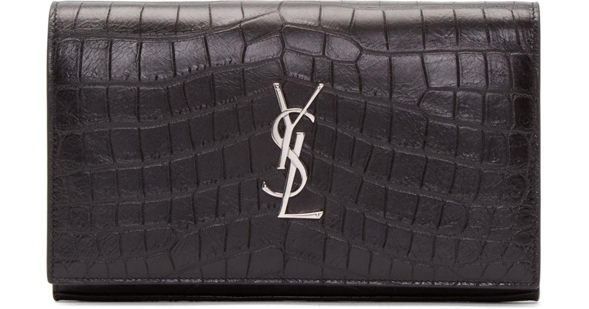 3d67abd206 Saint Laurent Black Croc-embossed Monogram Chain Wallet