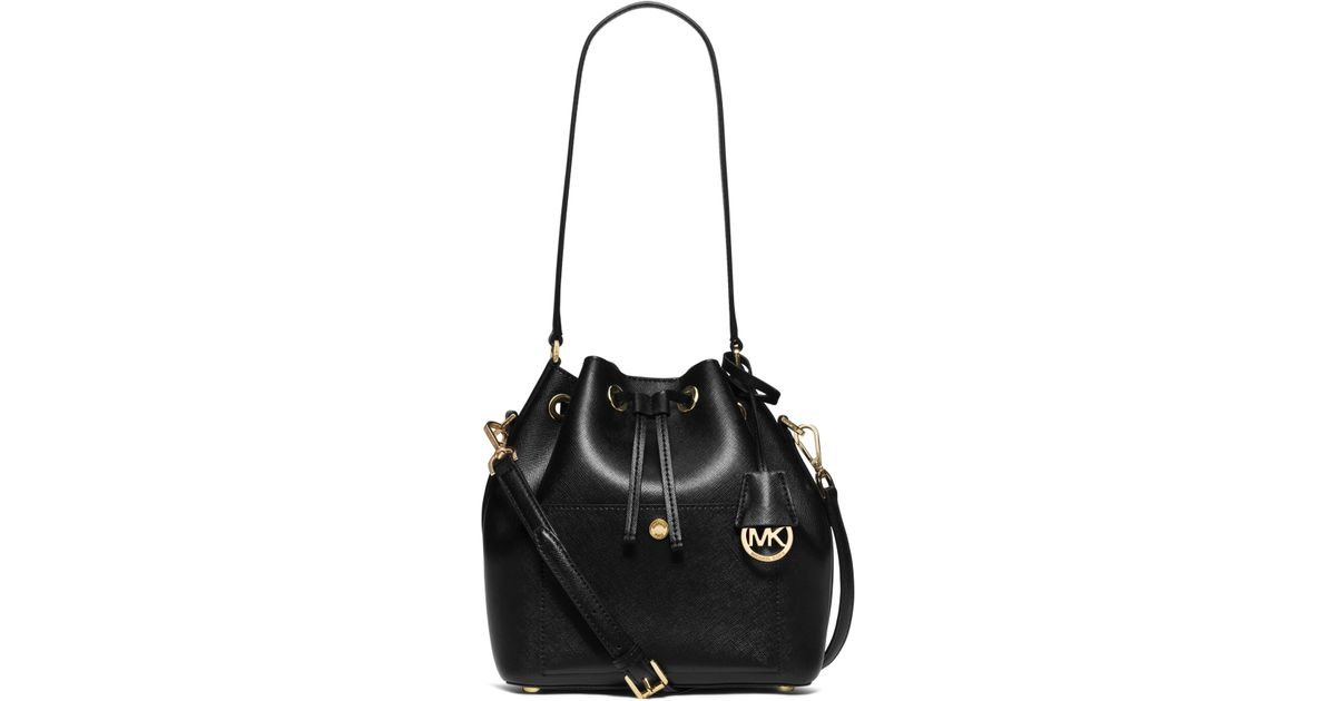 aed10c19a2a105 Michael Kors Greenwich Saffiano-Leather Bucket Bag in Black - Lyst