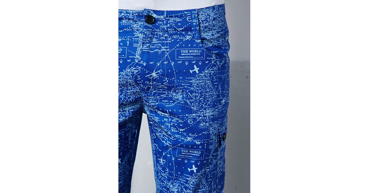 adb7347ce544 Lyst - Forever 21 The New Standard Edition Jordan Map Print Cargo Joggers  in Blue for Men