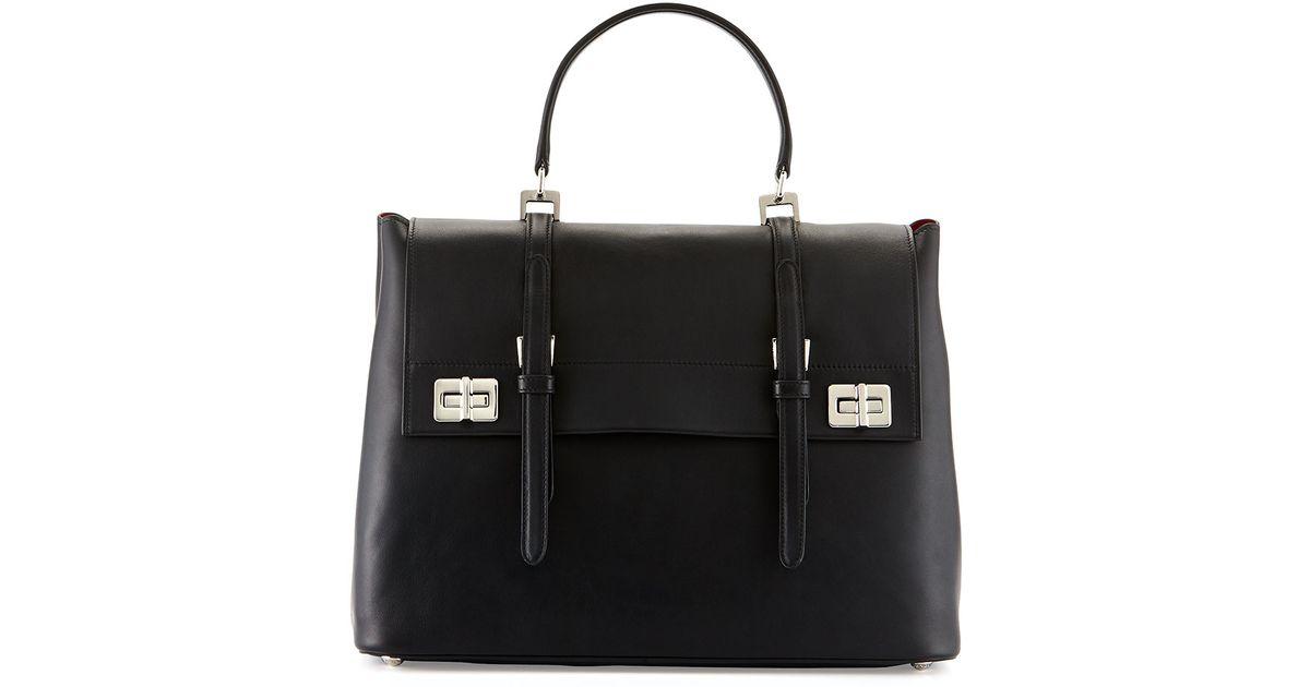 c2e44c2a6f73 usa lyst prada lux calf large flap satchel bag in black 8965e 626c0