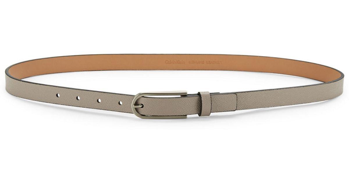 calvin klein flat leather belt in beige grey save 39
