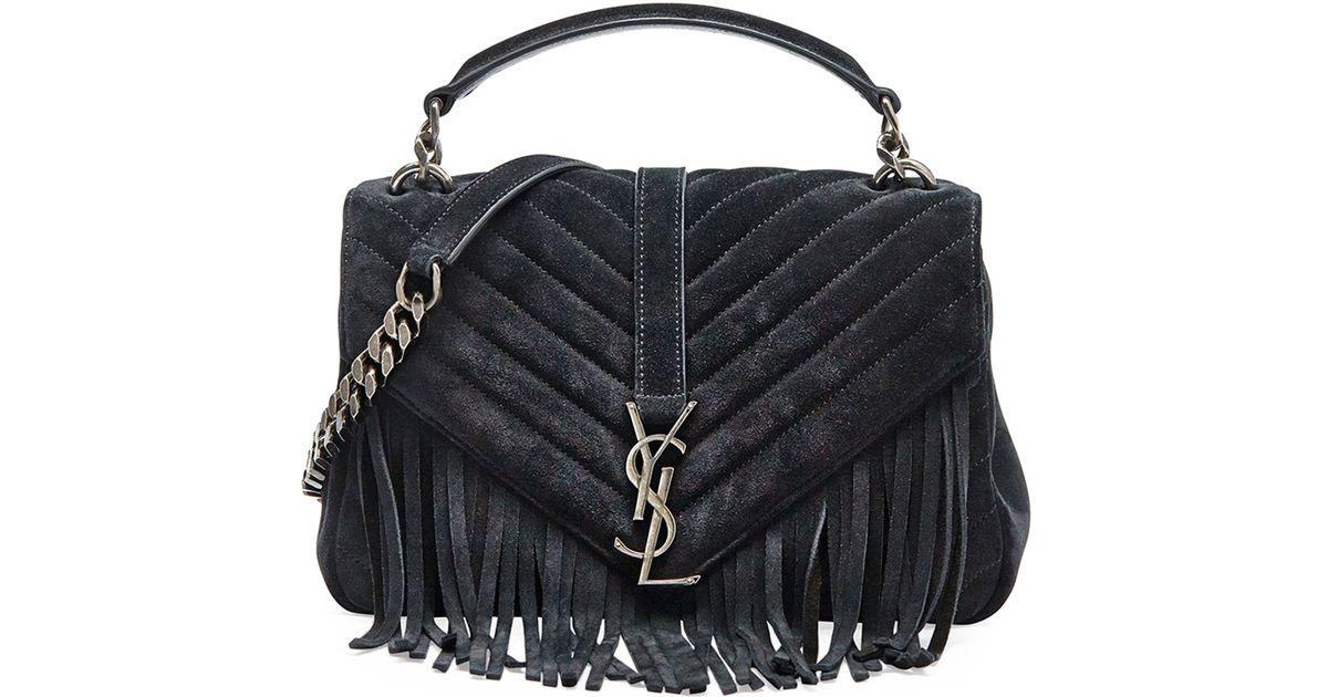 yve saint laurent bag - Saint laurent Monogram Fringed College Shoulder Bag in Black (NOIR ...