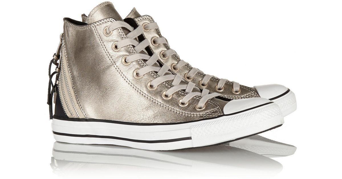 916c0f16fcff Lyst - Converse Chuck Taylor All Star Tri Zip Leather High-Top Sneakers in  Metallic