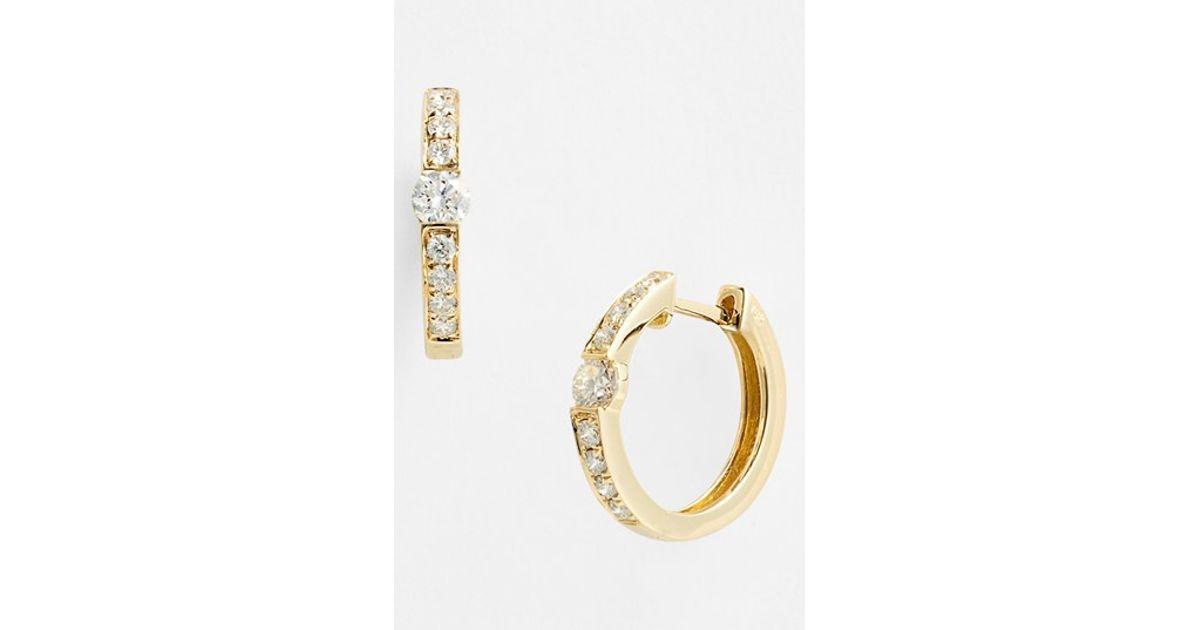 Small Diamond Hoop Earrings For Sale