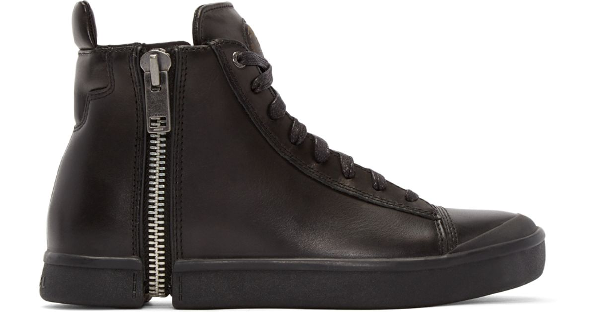 DIESEL Black Leather S-nentish High-top