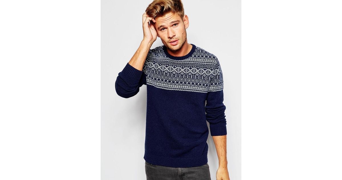 Lyst - Asos Lambswool Rich Jumper With Placement Fairisle in Blue ...