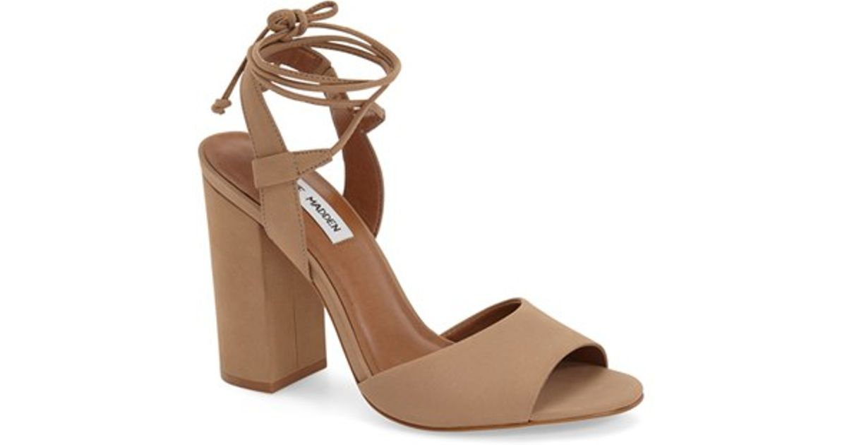 69b2b8ec200 Steve Madden Brown 'serrina' Block Heel Lace Up Sandal