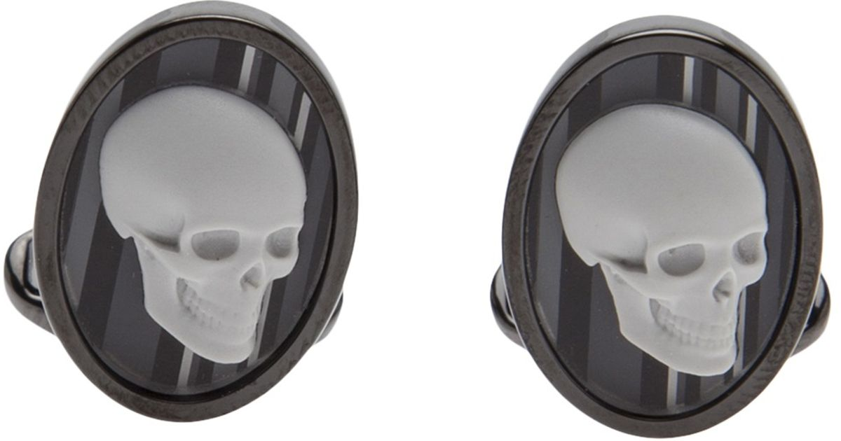 paul smith skull cameo cufflinks male models picture