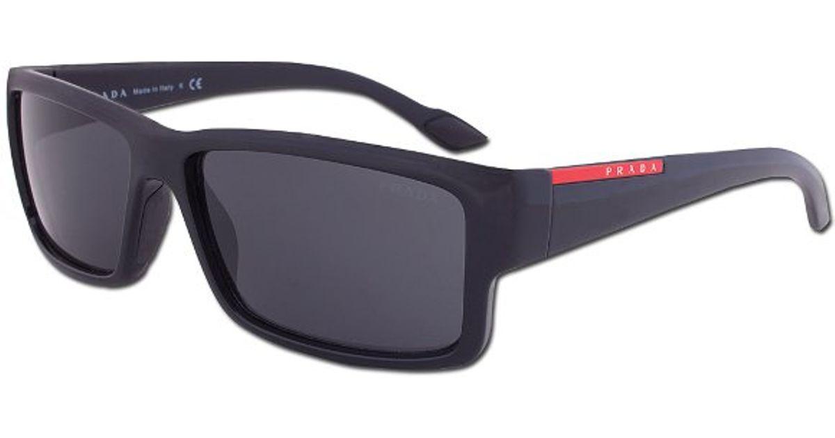 a6c9d56bdbebf ... discount code for lyst prada sport sps 05o 1ab 1a1 linea rossa black  sunglasses in black