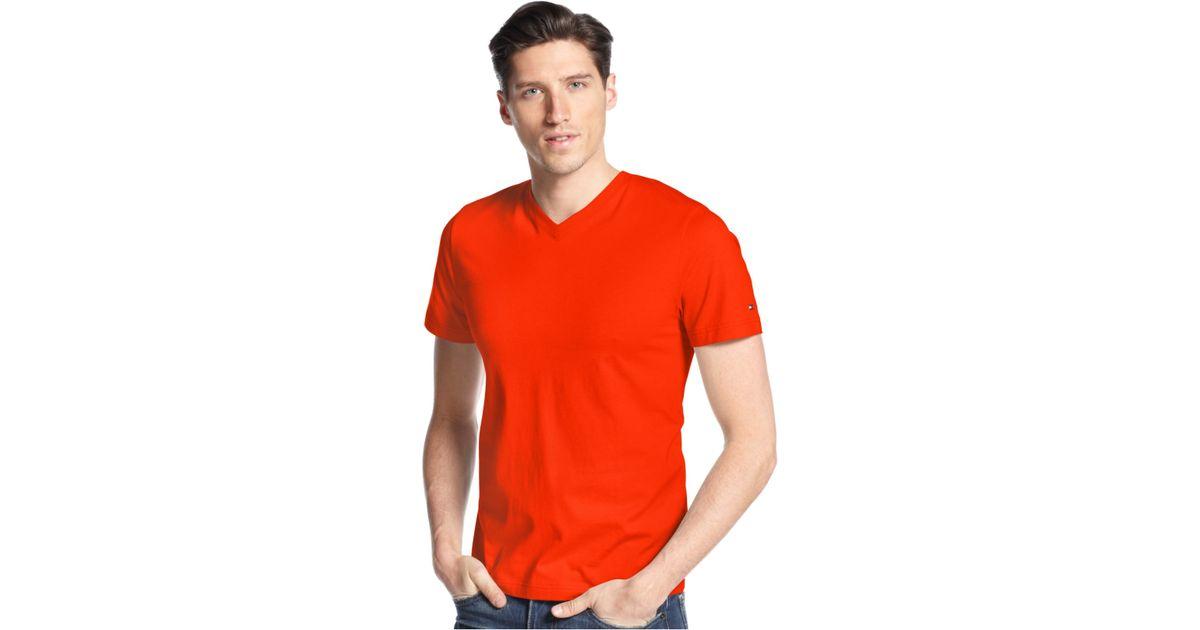 tommy hilfiger elmira v neck t shirt in orange for men. Black Bedroom Furniture Sets. Home Design Ideas