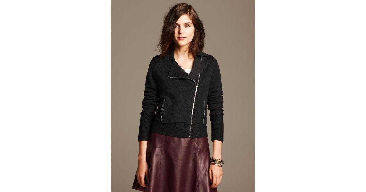 36ae6b36bf Banana Republic Black Faux-Leather Trim Moto Sweater Jacket