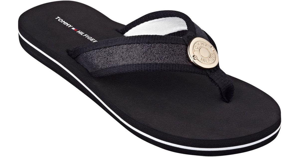 Tommy Hilfiger Womens Carma Glitter Flip Flops In Black -4238
