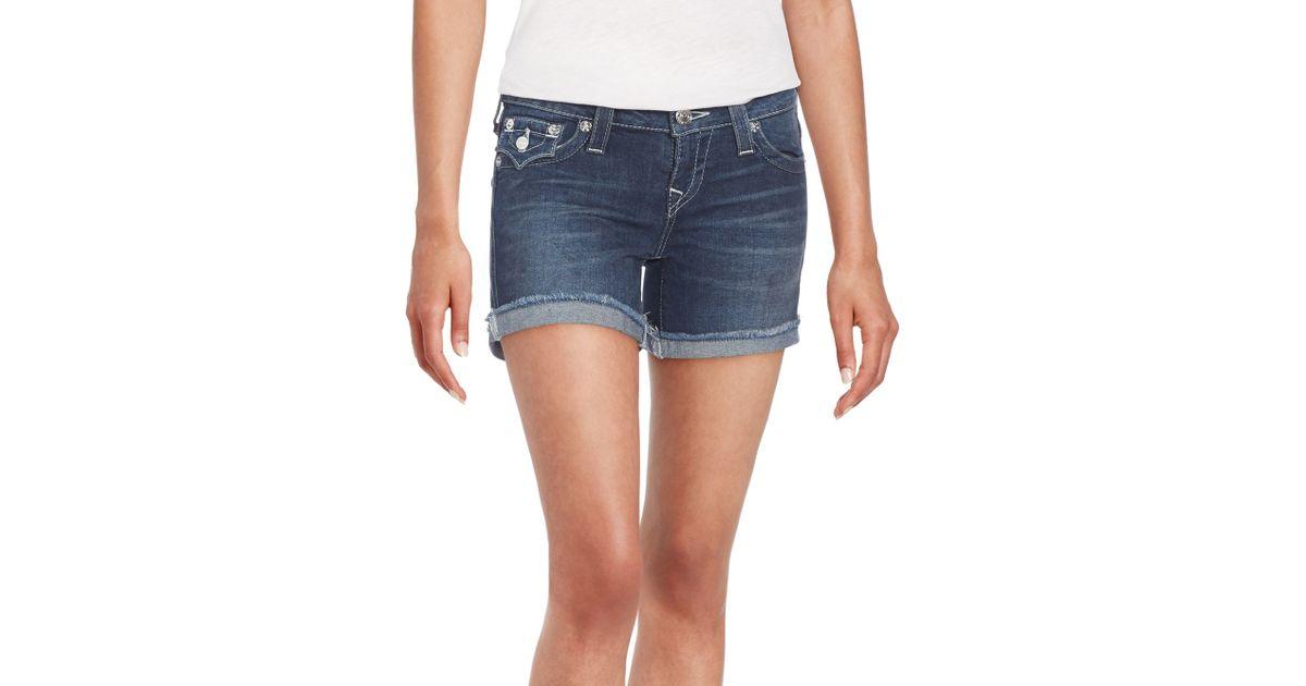 True religion Cut-off Denim Shorts in Blue | Lyst