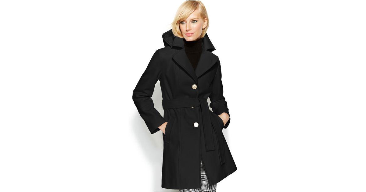 Michael kors Michael Hooded Belted Wool-Blend Coat in Black   Lyst