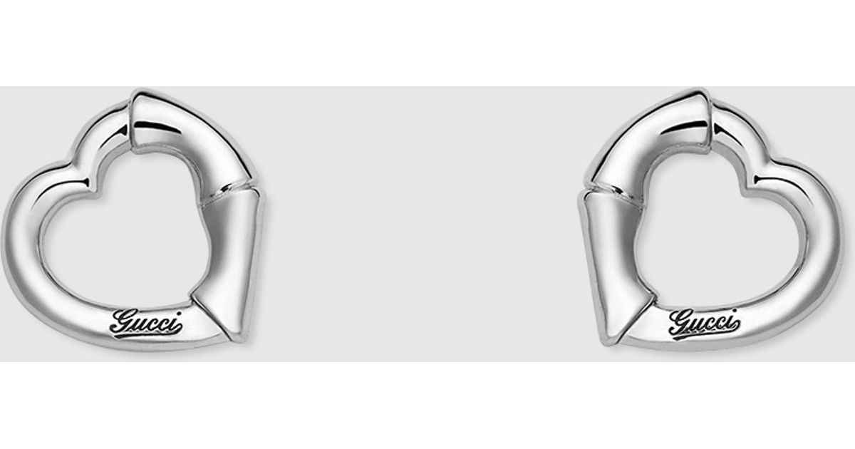 83ceb94a969 Gucci Bamboo Stud Earrings In Silver With Heart Motif in Metallic - Lyst