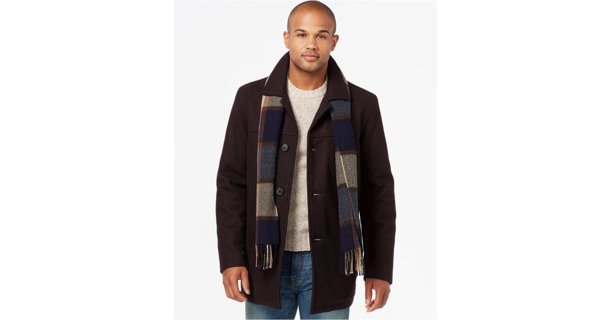 Tommy Hilfiger Wool Melton Peacoat With, Tommy Hilfiger Peacoat With Scarf