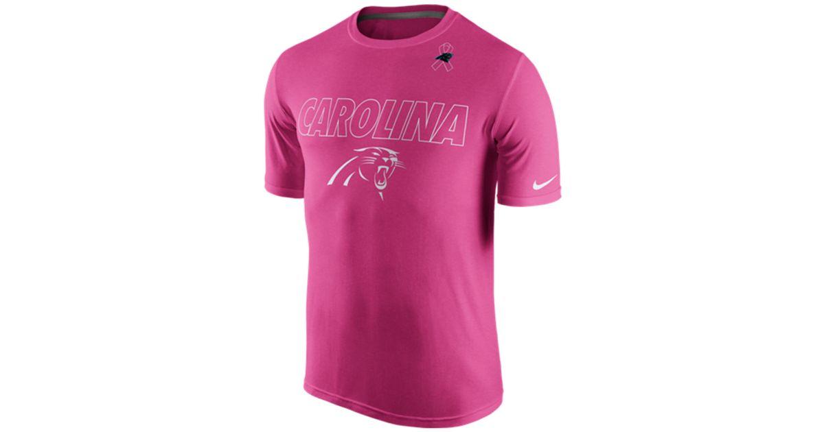 new style 1f8bd ba2fe Nike Pink Men's Carolina Panthers Breast Cancer Awareness Legend T-shirt  for men