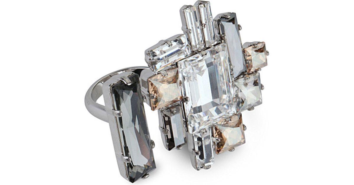 7a19a7587149 Atelier Swarovski Philippe Ferrandis Manhattan Open Ring in Metallic - Lyst