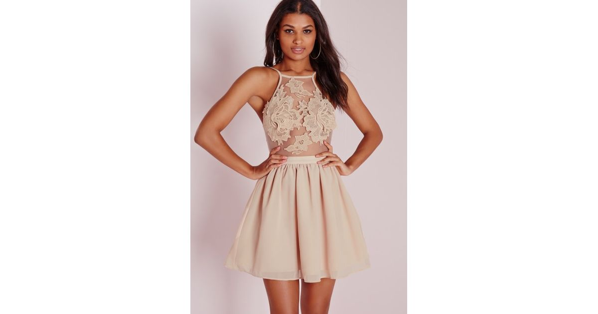 Missguided Lace Applique Detail Skater Dress Nude in Natural - Lyst 690b8e39e