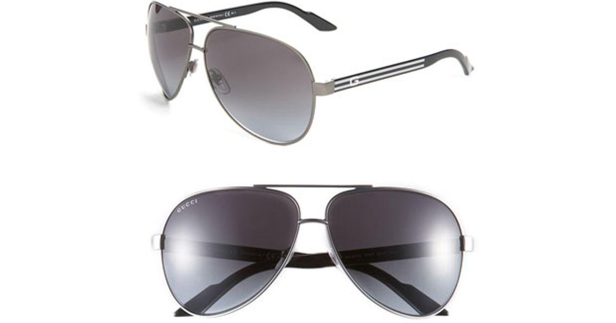 2fa2181281 Lyst - Gucci Metal 63mm Aviator Sunglasses - Dark Ruthenium Black in Black  for Men
