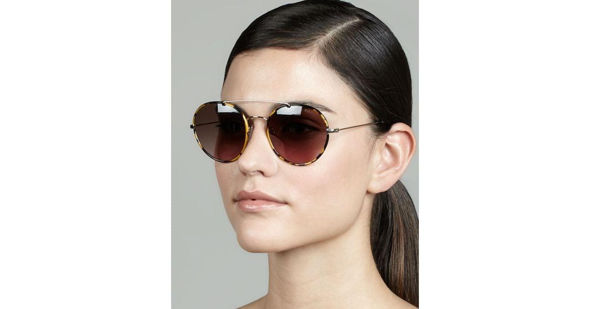 465761795fe0b Prada Catwalk Round Aviator Sunglasses in Brown - Lyst