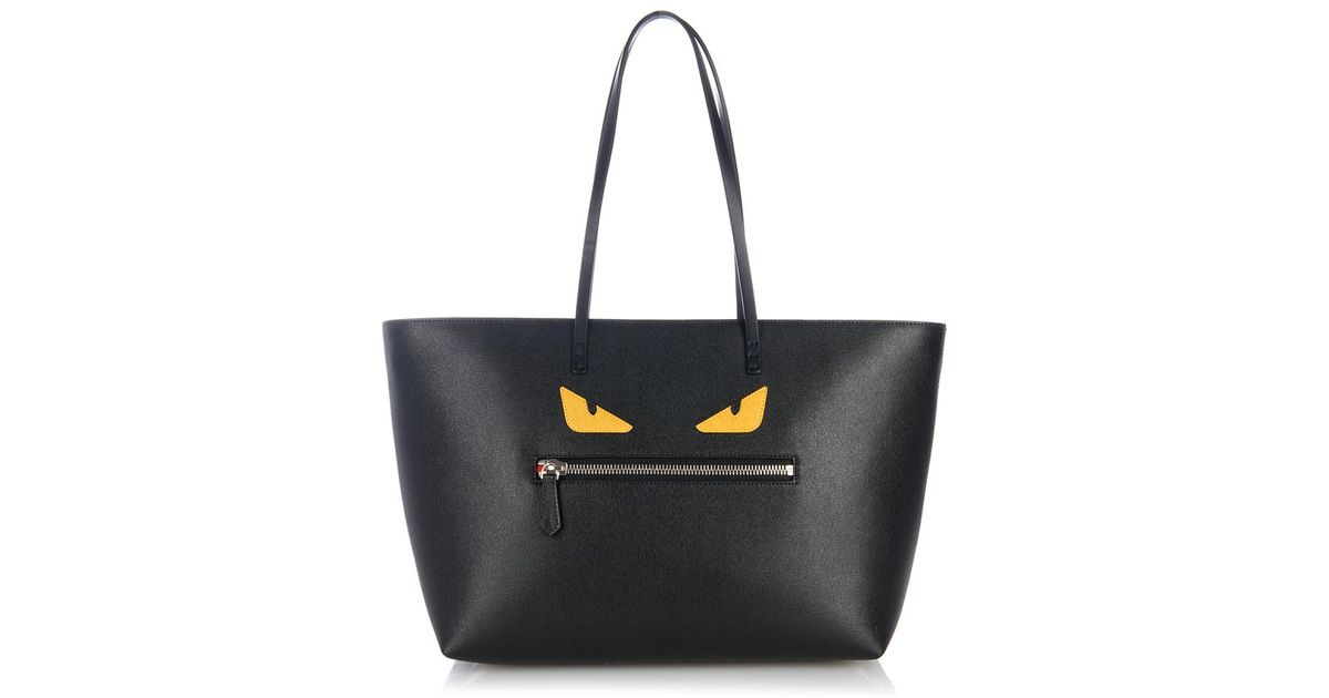 Lyst - Fendi Roll Monster Leather Tote in Black