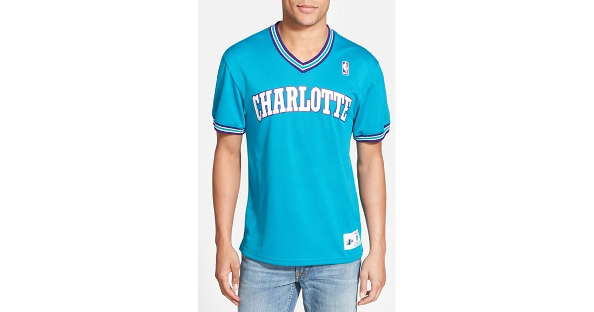 Lyst - Mitchell   Ness  charlotte Hornets  Tailored Fit Mesh T-shirt in  Blue for Men ab0e3eace