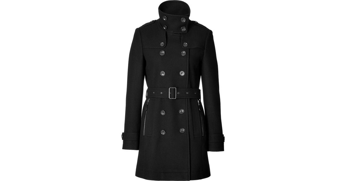 5a8f01350 Burberry Brit Short Double Wool Twill Daylesmoore Trench Coat In Black