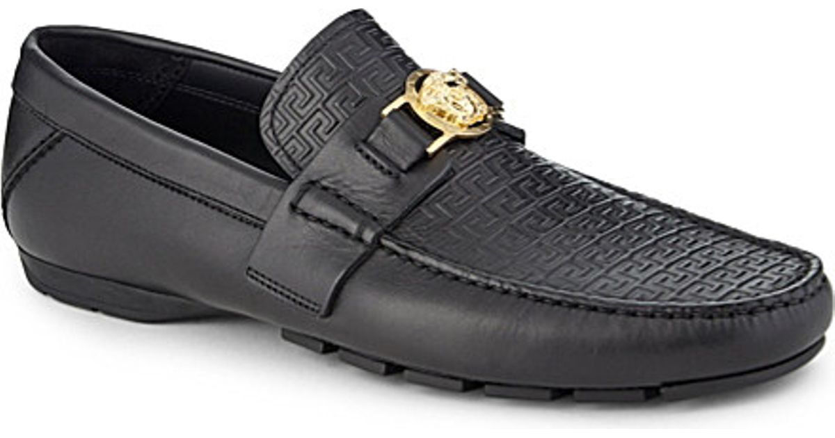1d2267026ade Lyst - Versace Greco Medusa Leather Driving Shoes in Black for Men