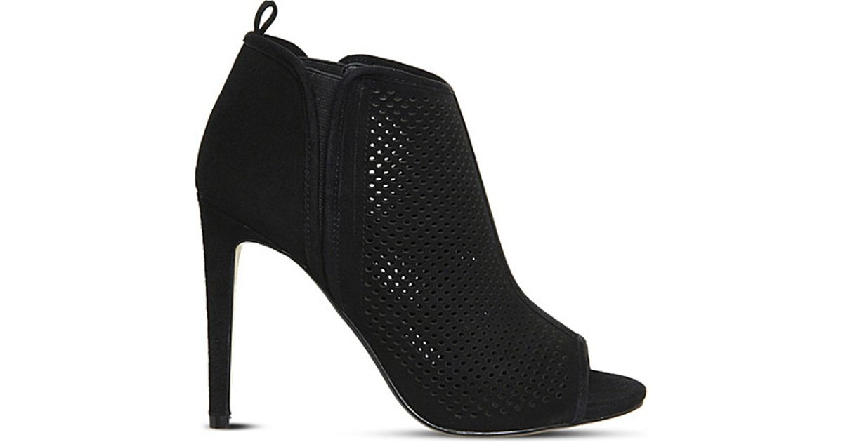 9d4e730b26f Lyst - Office Target Perforated-suede Heeled Shoes in Black