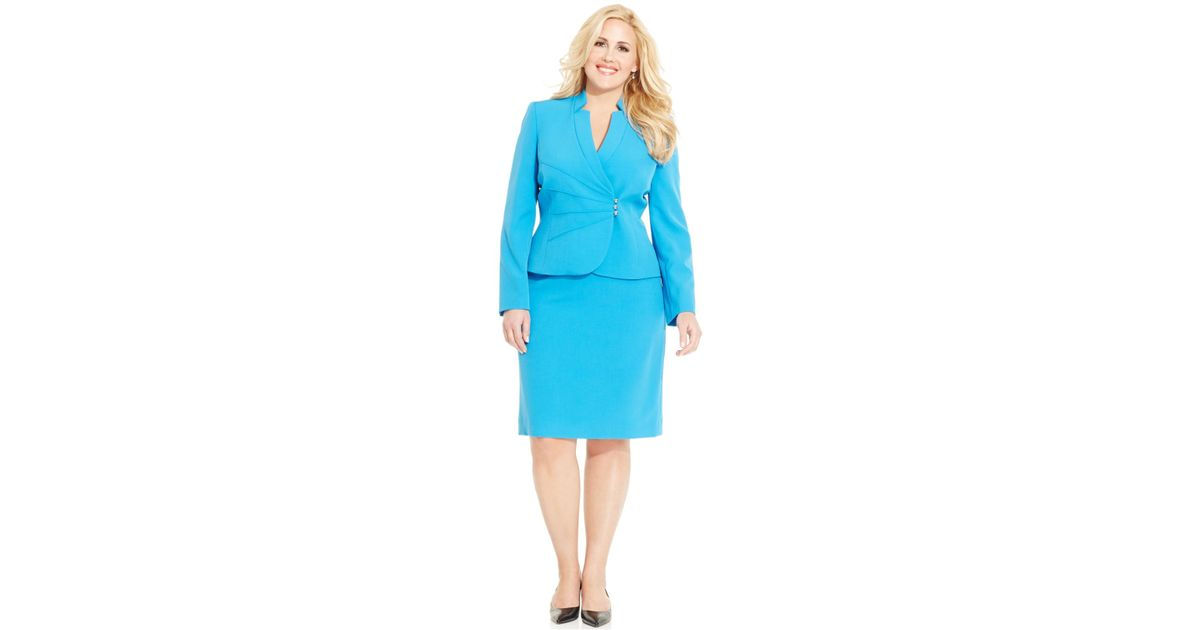 Tahari Blue Plus Size Skirt Suit