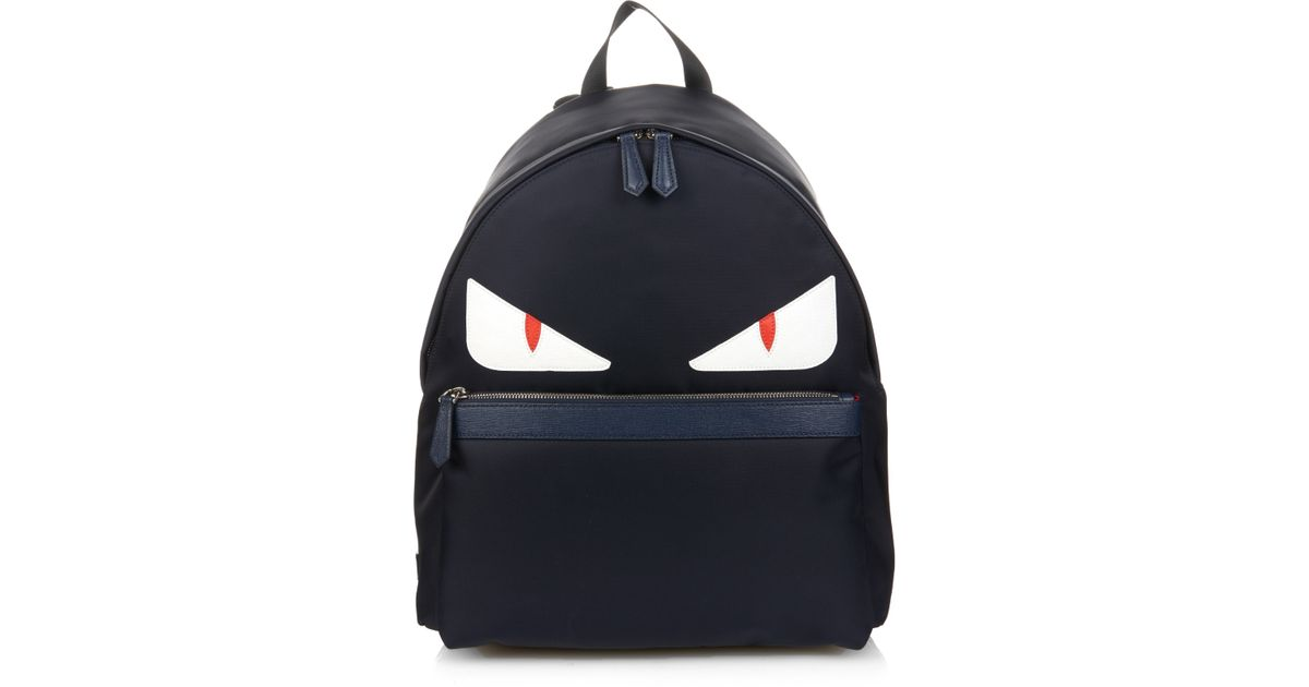 Lyst - Fendi Bag Bugs Nylon And Leather Backpack in Blue for Men 9b278d0878e45