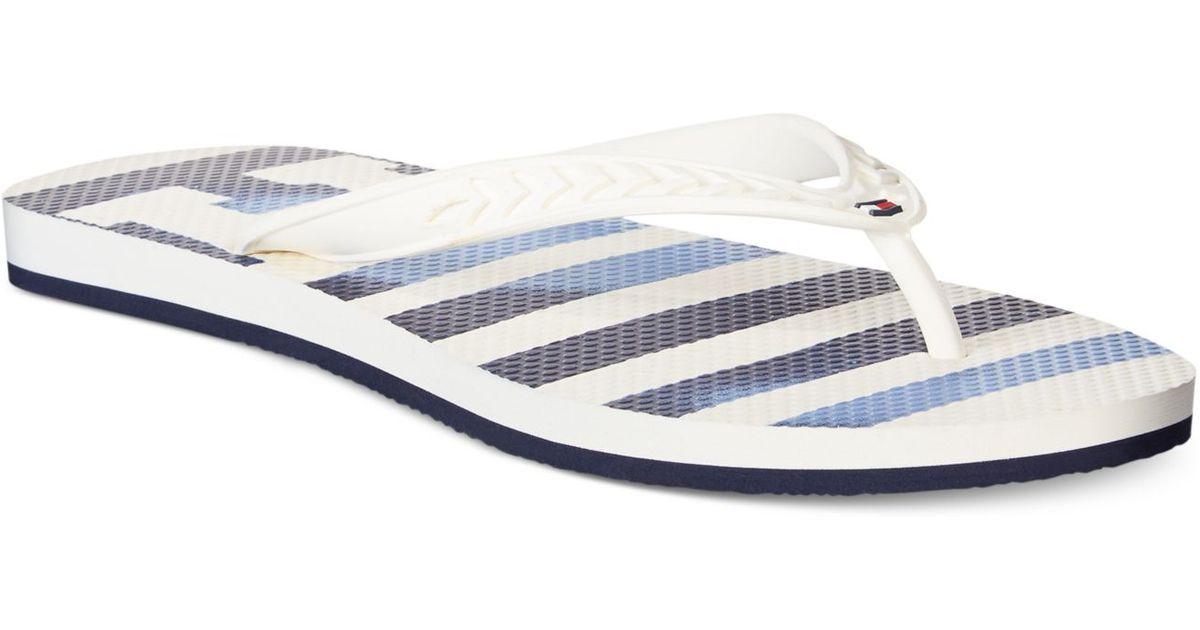 tommy hilfiger huck flip flops in white for men egret white lyst. Black Bedroom Furniture Sets. Home Design Ideas