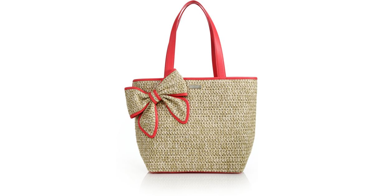 36a0b460086f82 Kate Spade Belle Place Straw & Leather Bow Tote in Red - Lyst