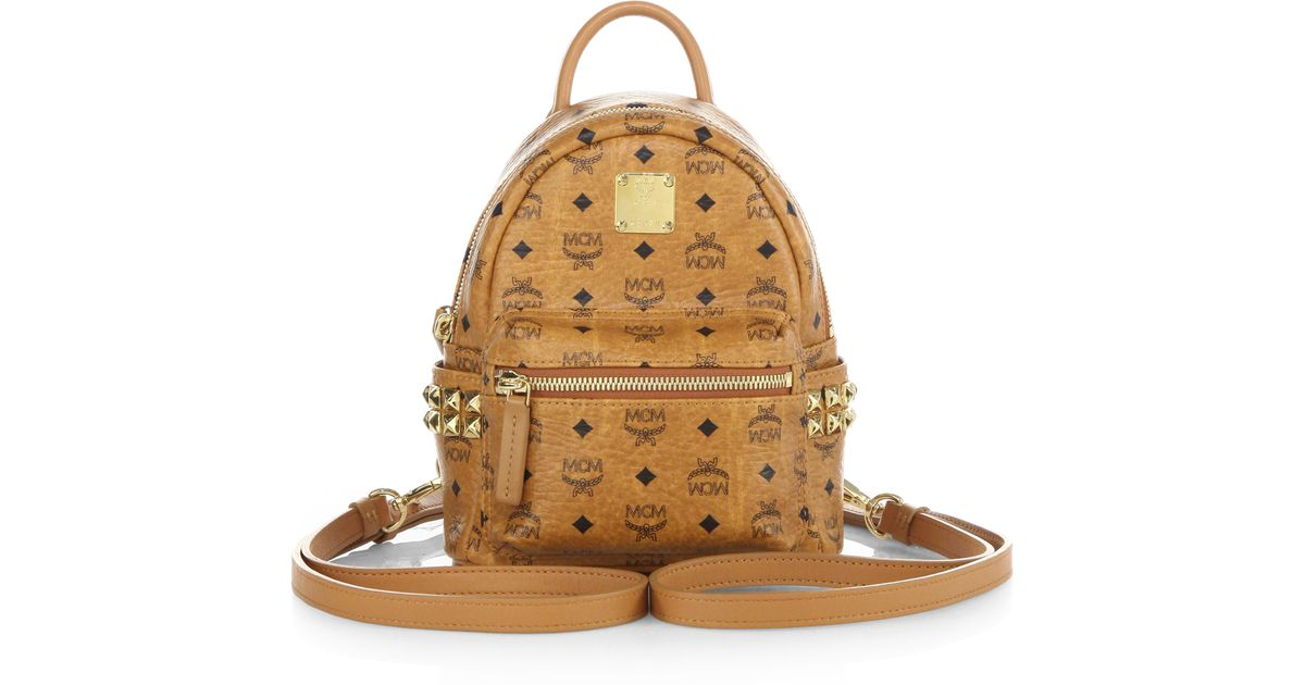 abcf4f160f38 MCM Stark Side Stud X Mini Coated Canvas Backpack in Brown - Lyst