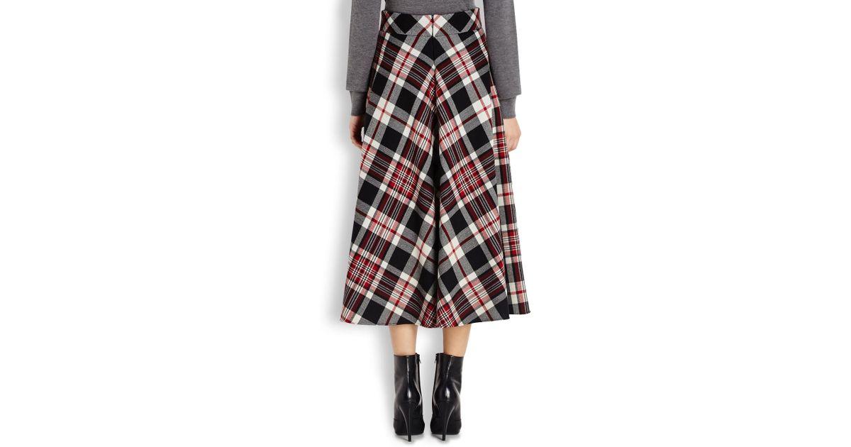 28705546bd Alexander McQueen Tartan Asymmetric Draped Skirt in Black - Lyst