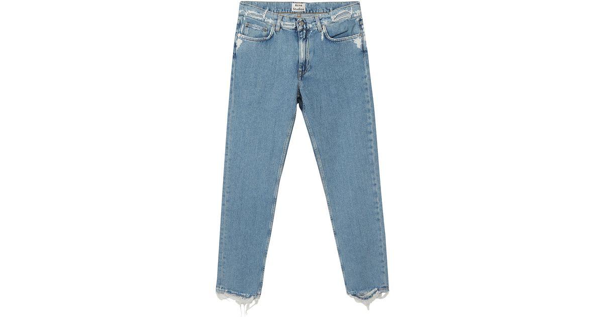 acne studios blue frayed mom fit jeans in blue lyst. Black Bedroom Furniture Sets. Home Design Ideas