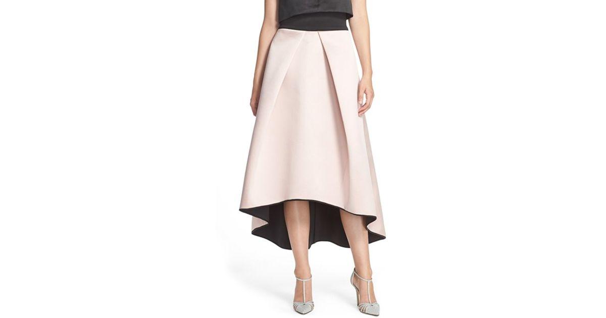 81ffe039997cbb MILLY Tuck Pleat Duchess Satin Ball Skirt in Pink - Lyst