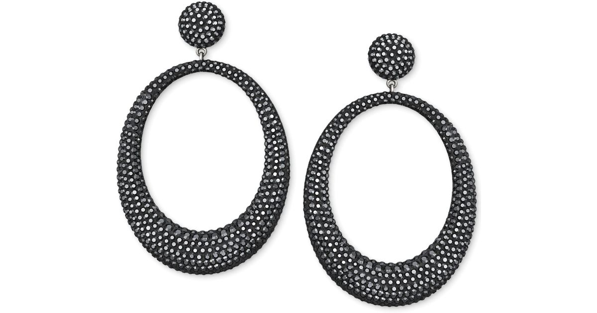 discount price choose newest so cheap Swarovski Black Hematite-tone Crystal Large Hoop Drop Earring