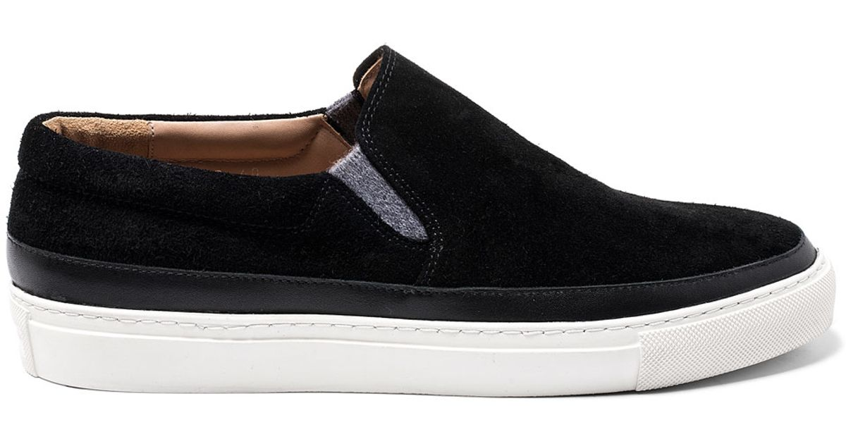 3913a1a9d0c Lyst - Dries Van Noten Black Leather Trim Slip-on Suede Skate Shoes in  Black for Men