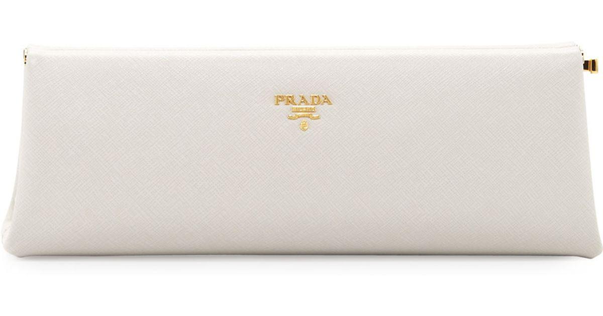 Prada Saffiano East-West Frame Clutch Bag in White | Lyst
