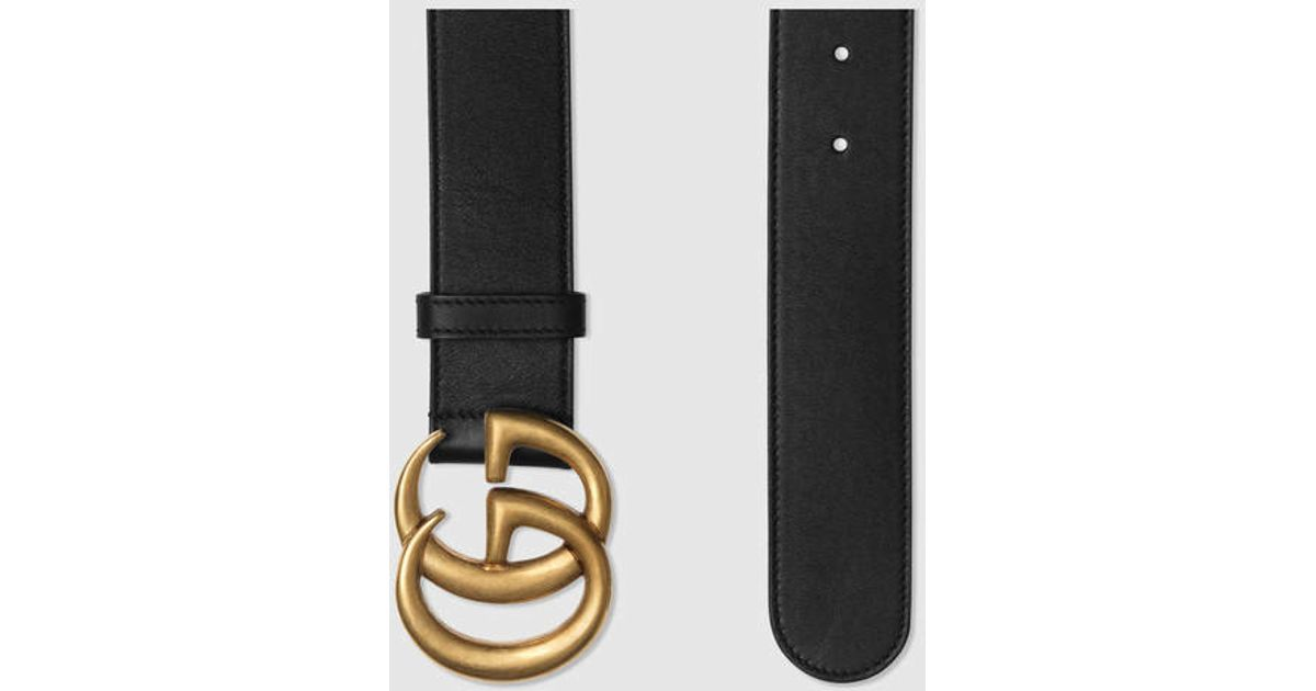 1853d4ccfcf Gucci Leather Belt With Double G Buckle in Black for Men - Save 7% - Lyst