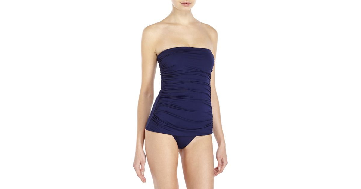 323691f86d9 Lyst - Ivanka Trump Bandeau Ruched One-Piece Swimsuit in Blue