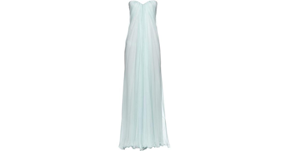 fbadee375b520 Alexander McQueen Bustier-Top Silk-Chiffon Gown in Blue - Lyst
