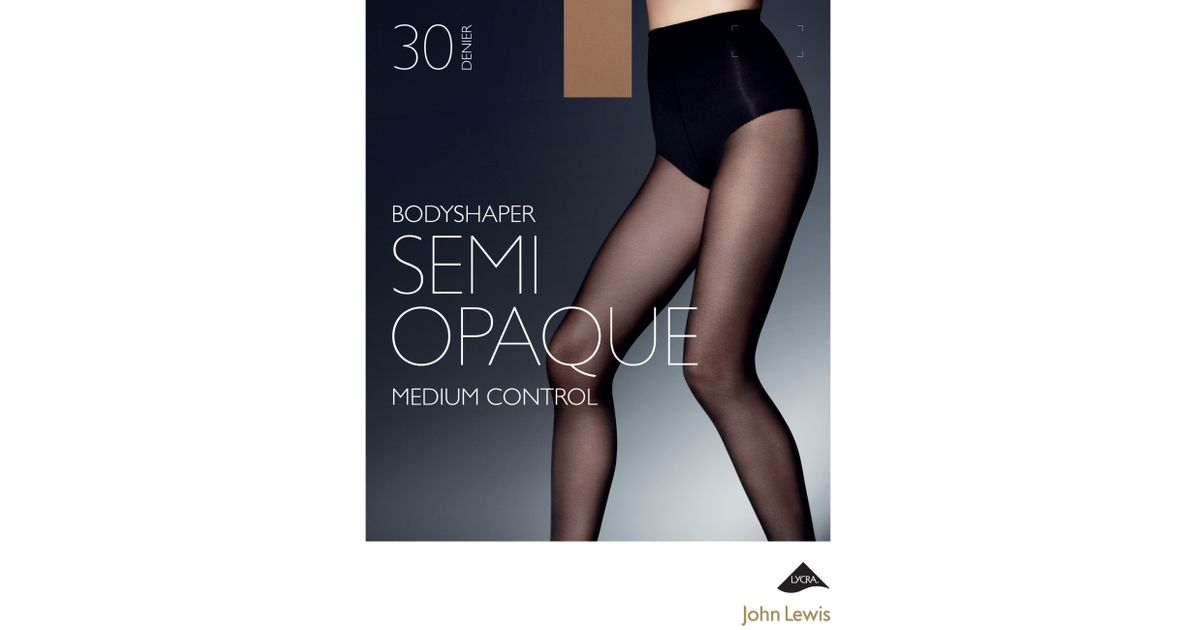8dc1827c3 John Lewis 30 Denier Semi Opaque Body Shaper Tights in Brown - Lyst