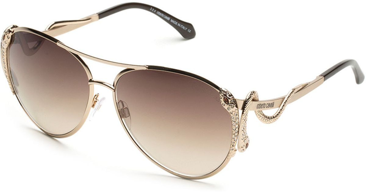 e02a5fe0b1c4 Lyst - Roberto Cavalli Mimosa Snake-temple Aviator Sunglasses in Pink
